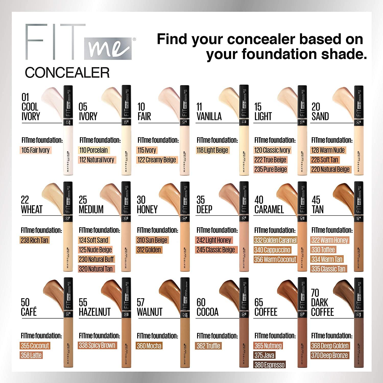 The Best Drugstore Concealers of 2020 - Maybelline Fit Me Liquid Concealer Makeup, Natural Coverage